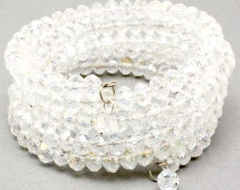 Multi Row Memory Wire Clear Crystal Coil Cuff Bracelet