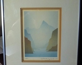 """Smokey Mountain Silouettes, West Coast Rocky Mountain Landscapes, by Peter and Traudl Markgraf """"Inlet"""" Signed Print"""