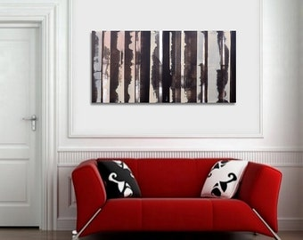 Abstract painting 60x120cm / 23,6x47 inch Black and White Orange Modern Abstract Art Painting Original Art Large