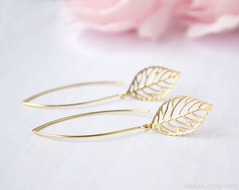 Gold leaf earrings Long dangle leaf earrings Leaf earrings filigree Modern everyday earrings Matte leaf jewelry Gift for her girl mom sister