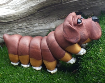 Dogerpillar, Caterpillar, Polymer Clay Dog, Puppy Sculpture, Fantasy Creature, Polymer Clay Sculpture, Figurine