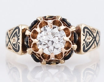 Antique Engagement Ring Victorian .61 Old Mine Cut Diamond in 18k Yellow Gold