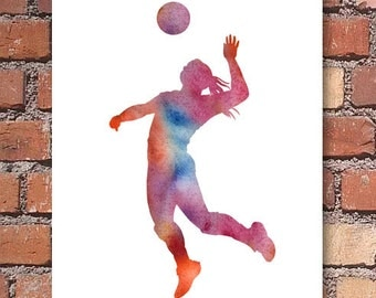 Volleyball Art Print - Abstract Watercolor Painting - Wall Decor
