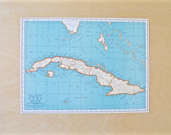 1942 - Cuba Map - Large Antique Map - Beautiful Old Map Cuba - Large Vintage Map - Colorful Atlas Map - Gift - Home Decor