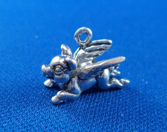 STERLING SILVER 3D If Pigs Could Fly Charm for Charm Bracelet
