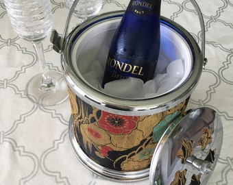 Vintage Small Fabric Ice Bucket with Lid