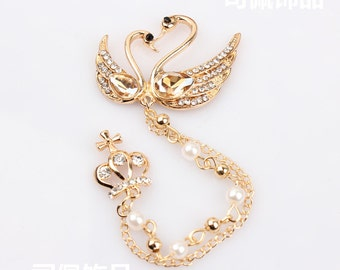 Free shipping 2pcs Gem Swan crown tassel DIY Alloy jewelry accessories