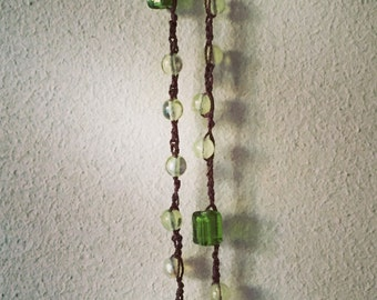 Necklace/bracviale with green crystals knit crochet