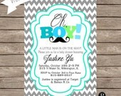 Little Man Baby Shower Invitation - Digital File