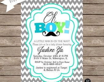 Little Man Baby Shower Invitation - Digital File