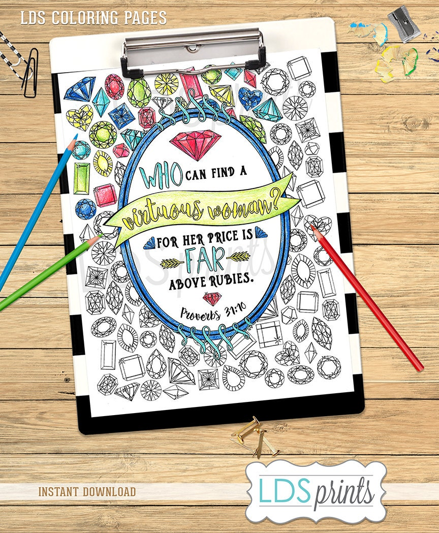 LDS Adult Coloring Book rubies LDS young women printable