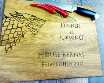 GAME of Thrones cutting board. Direwolf. Stark. Dinner is comming. Handmade Laser Engraved Cutting Board. Housewarming gift. Choping block