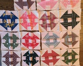 Antique Quilt Squares, Vintage Quilt Squares; Indigo, Blue, Cream, Pinks, Late 1800's, Hand Stitched