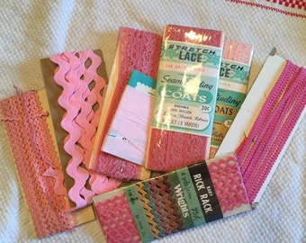 Vintage Pink Rick Rack and Trims, 4 Full Packages