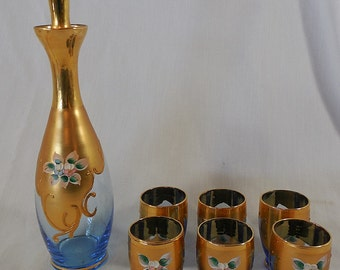 Lot of 7 Vintage Light Cobalt Blue Glass Decanter w/ Gold Painted Glasses