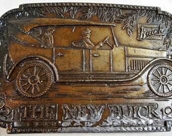 Vtg General Motors 'The New Buick 1921' Brass Finish Belt Buckle, E-37