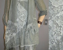 42 44 46 / 14 16 18 Italian Cotton Lagenlook 3Pc Tunic+Dress+Scarf Lace Embroidery