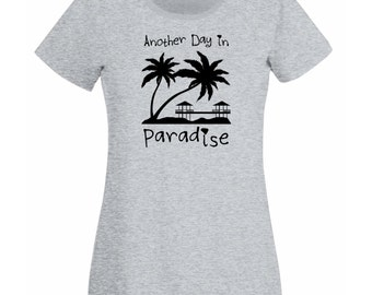 Womens T-Shirt with Sunset Beach Design with Palms & Bungalows / Quote Another Day in Paradise Shirts + Free Random Decal Gift