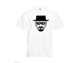 Mens T-Shirt  Breaking Bad Heisenberg with Sunglasses / Serious Walter face white TShirt / Clothing shirt  + Free Random Decal Gift!