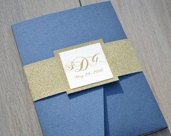 Navy and gold wedding invitations, navy wedding invitation, pocket invitations, glitter invitations, wedding invitations with belly bands