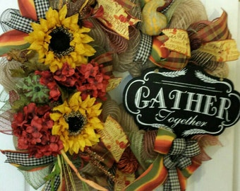 Thanksgiving Wreath   Fall Wreath   Harvest Wreath   Gather Together Chalkboard Sign Wreath