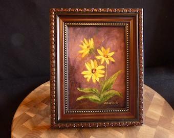 Arrowleaf Balsamroot oil painting, Miniature, Wildflower of Wyoming
