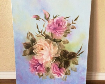 Vintage Beautiful Unsigned Original Floral Painting on Canvas