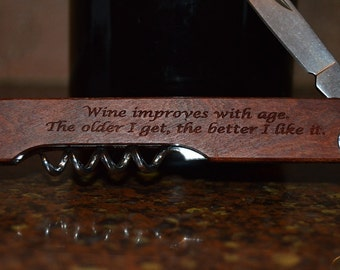 Personalized Wine Opener or Bottle Opener with Cork Screw