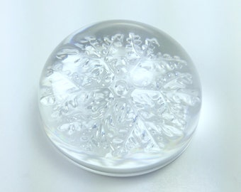 Vintage Crystal Paperweight, Glass Snowflake Paperweight