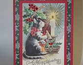Handmade Greeting Card Christmas Kitty with Candle