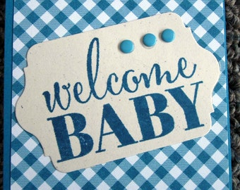 """Handstamped Mini Card For Baby Boy Gift in Blue Gingham """"Welcome Baby"""""""