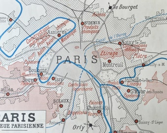 Paris Map - Vintage Paris Map - Antique Paris Map - Paris Map Gift - Paris Wall Art - Paris Gift - Paris City Map - Paris Map Poster
