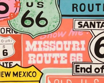 Alexander Henry, Historic Route 66 Pink cotton fabric