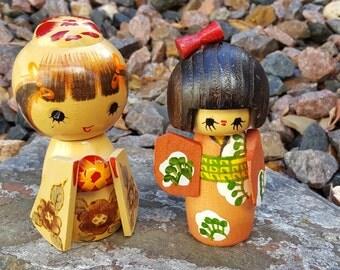 Pair Japanese Wood Dolls~2 Japanese Kokeshi Dolls~Handpainted Geisha Doll~Girls in Kimono~Wooden Dolls~Vintage Doll figurine~JewelsandMetals