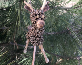 Natural Sweetgum Reindeer Christmas Ornament or Decoration