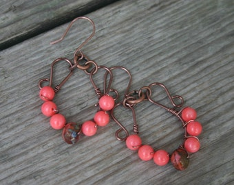 Coral and Copper Dangle Earrings, Coral Gemstone Earrings, Copper Earrings