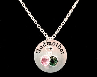 Personalized Birthstone Godmother Gift Will You Be My Godmother Gift Charm Necklace