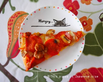 The hungry cat's plate Small size- hand drawn cake plate, dinner plate