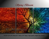 """Tree, Multicolored Spring Seasons Landscape Art, Original Oil Painting on Canvas, Set of three 72"""" x 36"""" art work, Signed dated by Maitreyii"""