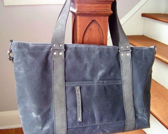 Ready to Ship / Diaper Bag / Charcoal Waxed Canvas and Yellow Abstract