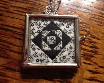 Black & White Quilt Block Necklace