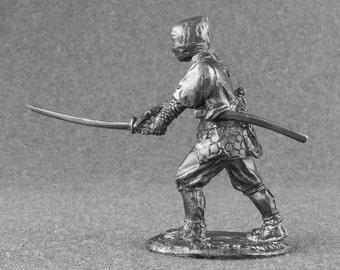 "Metal Toy Soldiers Sculpture ""Ninja Attack Sword"" 1/32 Scale Collection 54mm Tin Miniature Action Figurine Statuette"