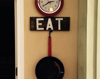Eat sign, rustic wood sign