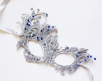 Masquerade Mask, Halloween Party Mask, Embroidery Lace Mask, Silver Lace Mask with Crystals