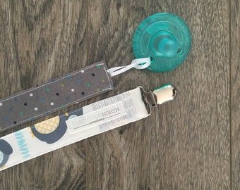Pacifier Clips, Fabric Pacifier Leash, Binky Clip, Owls and Polka Dots, Set of 2, Gender Neutral