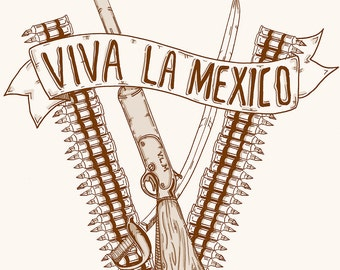 V is for Viva la Mexico, Monogram letter V, Typographic, Limited edition, Original Illustration Fine Art Print