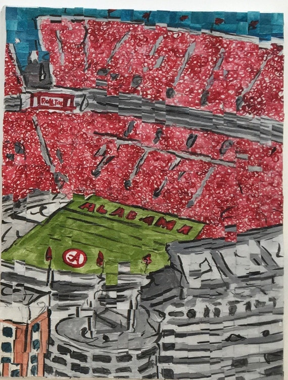 "University of Alabama- Bryant Denny Stadium - Architectural Art: 12""x16"" Original Painting"