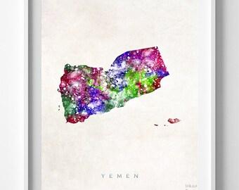 Yemen Map Print, Sanaa Print, Yemen Poster, Watercolor Painting, Home Decor, Wall Decor, Dorm Decor, Travel Poster, Back To School