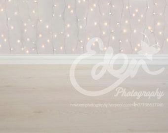 Digital Download Backdrop Christmas Winter White Lights Bokeh & Wood Prop Scene for Newborn Baby Toddler Child Children Photography