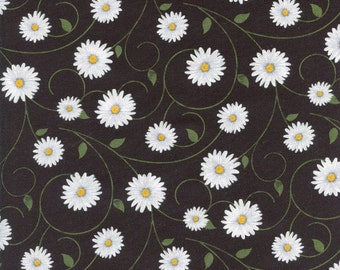 Daisy Vines Timeless Treasures Cotton Fabric C4425 Black, By the Yard